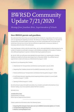 BWRSD Community Update 7/21/2020