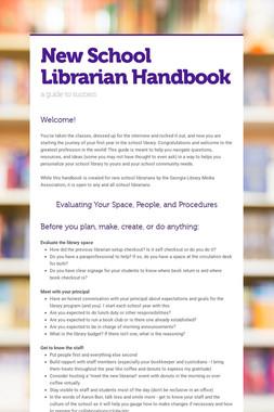 New School Librarian Handbook