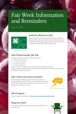 Fair Week Information and Reminders