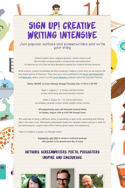 Sign up! Creative Writing Intensive