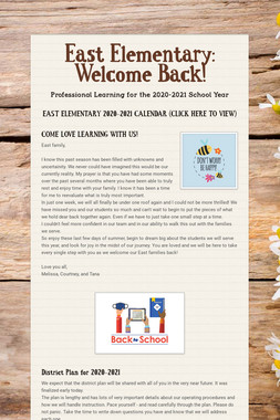 East Elementary: Welcome Back!