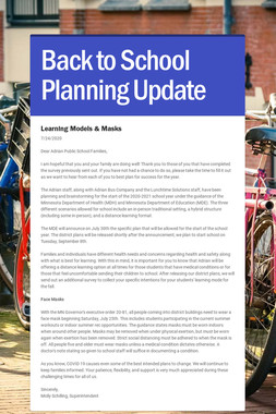 Back to School Planning Update