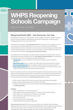 WHPS Reopening Schools Campaign