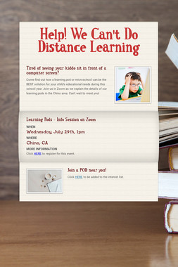 Help! We Can't Do Distance Learning