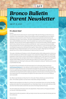 Bronco Bulletin Parent Newsletter