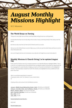 August Monthly Missions Highlight
