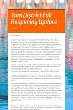 Tam District Fall Reopening Update
