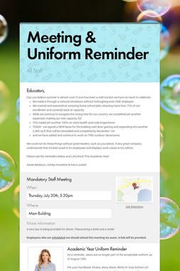 Meeting & Uniform Reminder