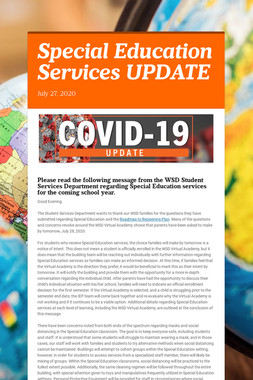 Special Education Services UPDATE