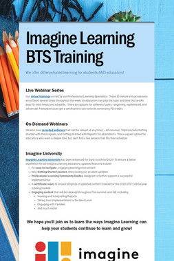 Imagine Learning BTS Training