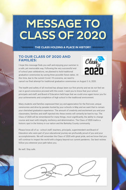Message to Class of 2020
