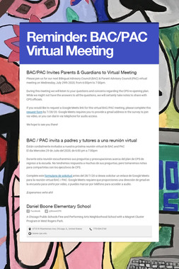 Reminder: BAC/PAC Virtual Meeting