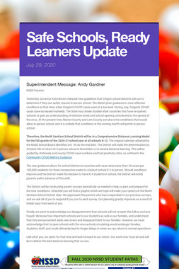 Safe Schools, Ready Learners Update