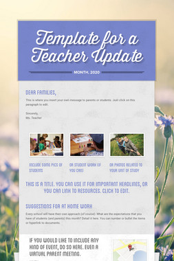 Template for a Teacher Update