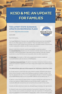 KCSD & Me: An update for families