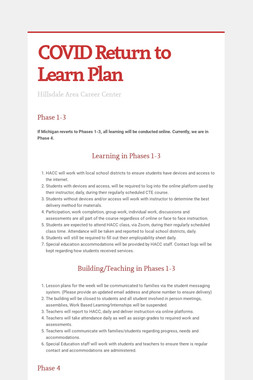 COVID Return to Learn Plan