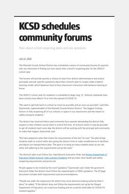 KCSD schedules community forums