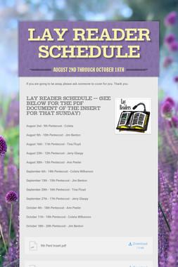 Lay Reader Schedule