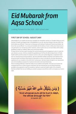 Eid Mubarak from Aqsa School