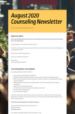 August 2020 Counseling Newsletter