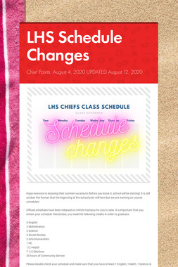 LHS Schedule Changes