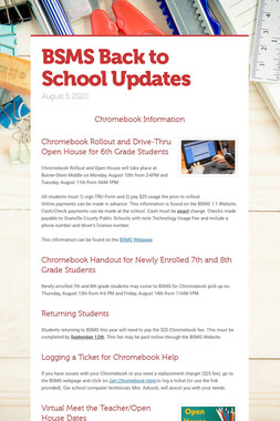 BSMS Back to School Updates