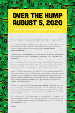 Over the Hump  August 5, 2020