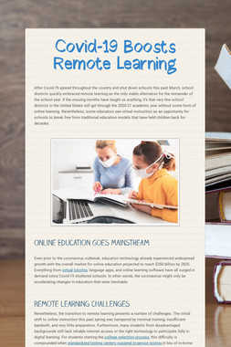 Covid-19 Boosts Remote Learning