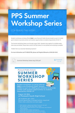 PPS Summer Workshop Series