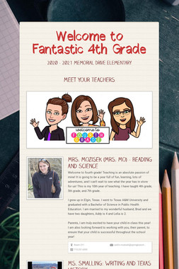 Welcome to Fantastic 4th Grade