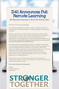 D41 Announces Full Remote Learning