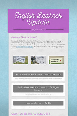 English Learner Update