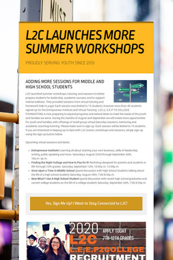 L2C LAUNCHES MORE SUMMER WORKSHOPS