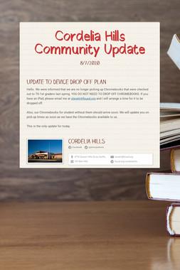 Cordelia Hills Community Update