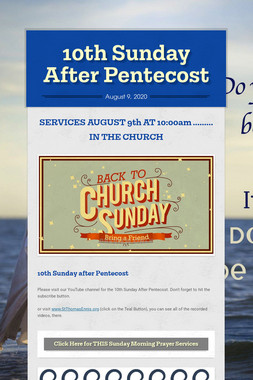 10th Sunday After Pentecost