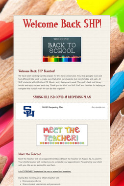 Welcome Back SHP!