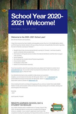 School Year 2020-2021 Welcome!