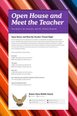 Open House and Meet the Teacher