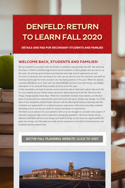 Denfeld: Return to Learn Fall 2020