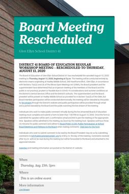 Board Meeting Rescheduled