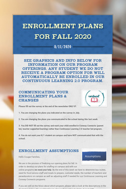 Enrollment Plans for Fall 2020