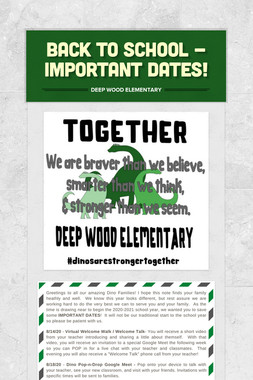 Back to school - important dates!