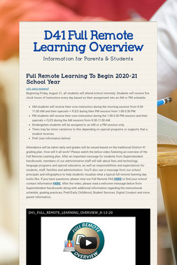 D41 Full Remote Learning Overview