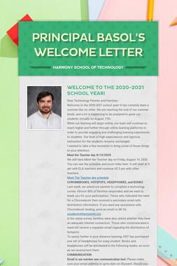 Principal Basol's Welcome Letter