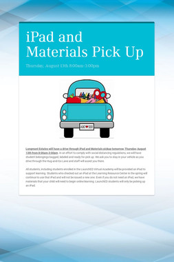 iPad and Materials Pick Up