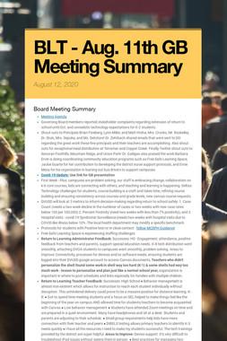BLT - Aug. 11th GB Meeting Summary