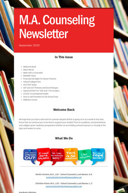 M.A. Counseling Newsletter