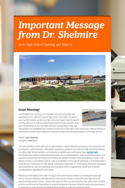Important Message from Dr. Shelmire