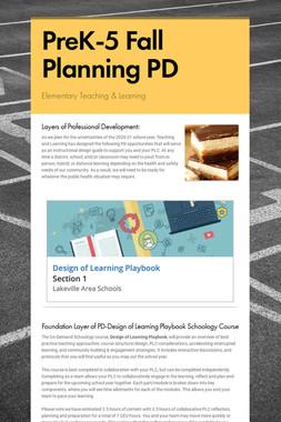 PreK-5 Fall Planning PD