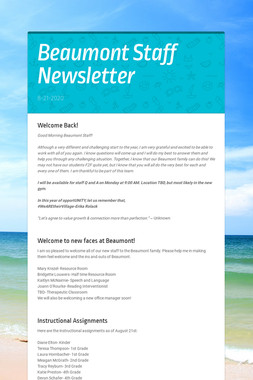 Beaumont Staff Newsletter